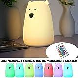 SOLMORE LED Luce Notturna in Silicone a Forma di Orsetto Multicolore 6 Modalità di Funzionamento Anche con Telecomando Ricaricabile Tramite Cavo USB Decorazione Luminosa per Camere