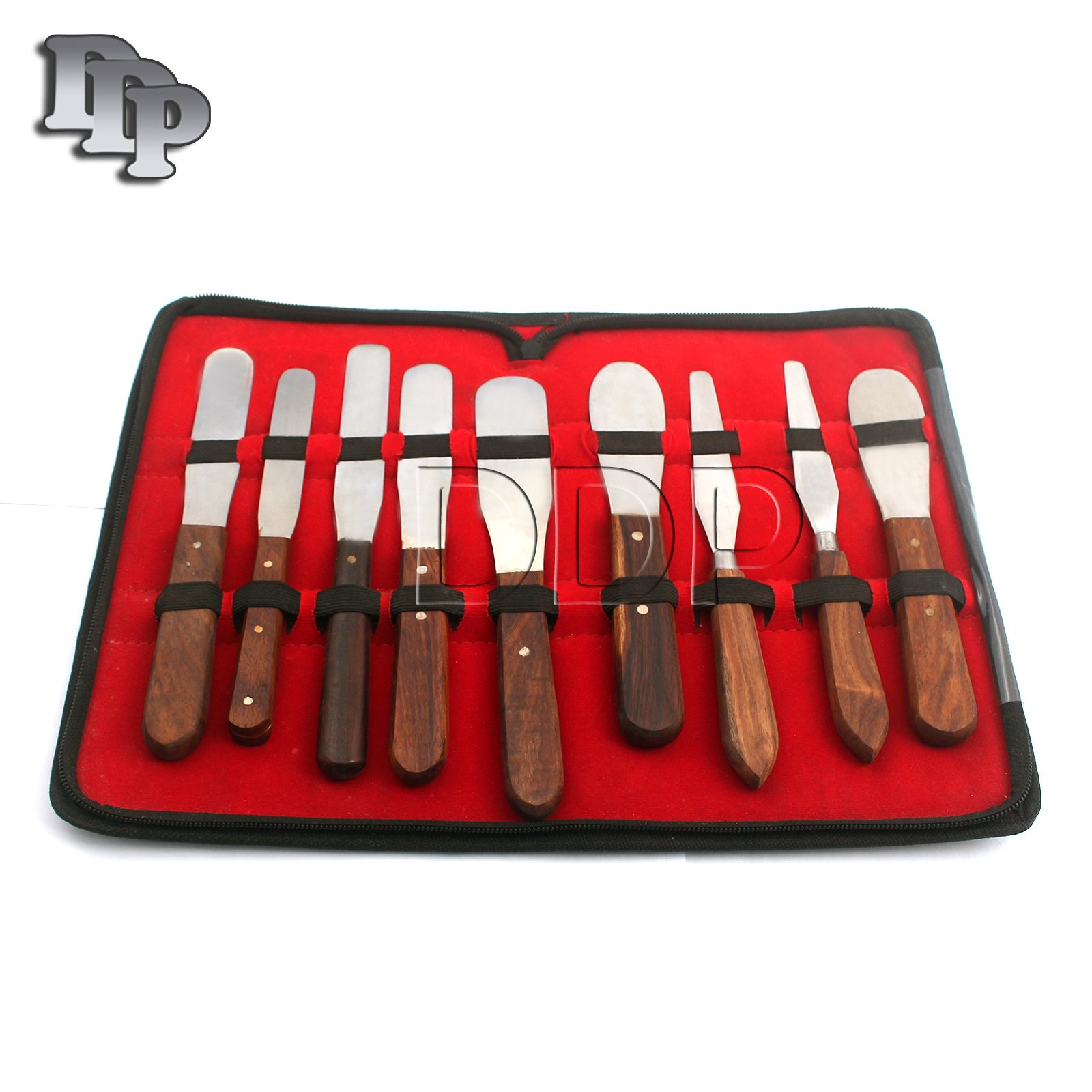 DDP NEW GERMAN GRADE STAINLESS STEEL SET OF 9 DENTAL INSTRUMENTS LAB SPATULA LAB INSTRUMENTS SPATULA-WOODEN HANDLE