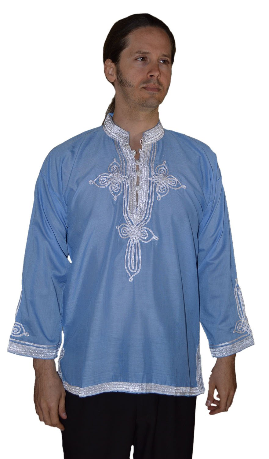 Marrakesh Men Tunic Caftan With White Tread Embroidery Breathable X-large Light BLue