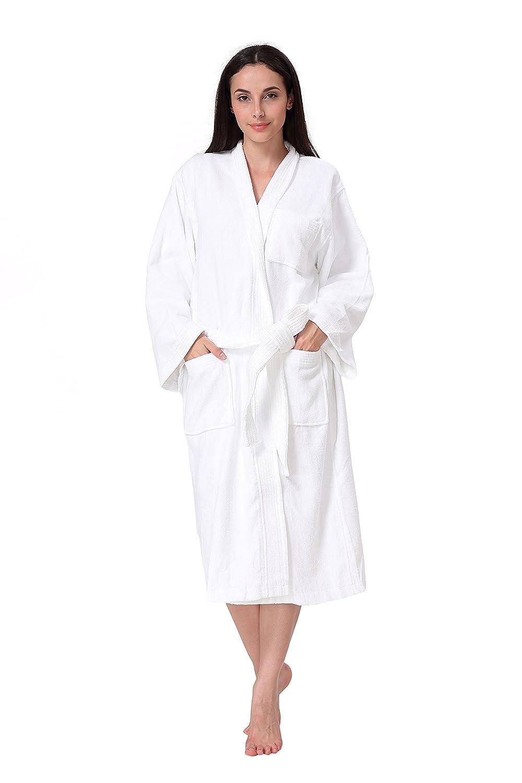 Acanva Women's & Men's Terry Robe Plush Cotton Spa Kimono Bathrobe - White, Large BW001-WT-L