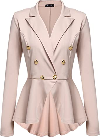 NQ Womens Business Lapel Wear To Work High Low Long Blazer Coat