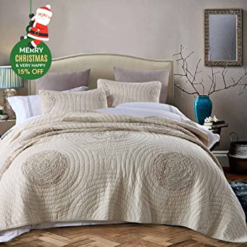 Marvelous Quilts King Size 100% Cotton Solid Champagne Modern 3D Floral Pattern  Patchwork Bedspread King Size