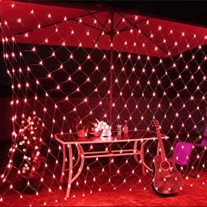 Twinkle String Lights LED Fairy Net Lamps 8 Flash Modes Remote Control Trunk Curtain Bushes Christmas Tree Halloween Wall Bedroom Outdoor Garden Wedding Patio Party Decoration (Red, 2×3m)