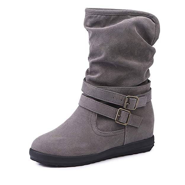 OHQ Botas Ladies Mujer Low Wedge Buckle Biker Tobillo Recortar Botines Planos Zapatos Zapatillas De Gimnasia: Amazon.es: Zapatos y complementos