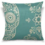 SUABO Abstract Sugar Skull Pattern Cotton Velvet Decorative Throw Pillow Case Cushion Cover 20 X 20 inch