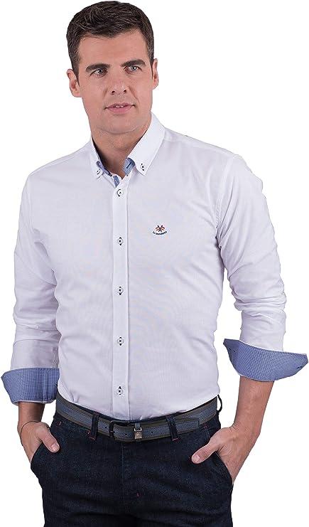 Camisa Blanca con Contraste en puños y Cuello: Amazon.es: Ropa y ...