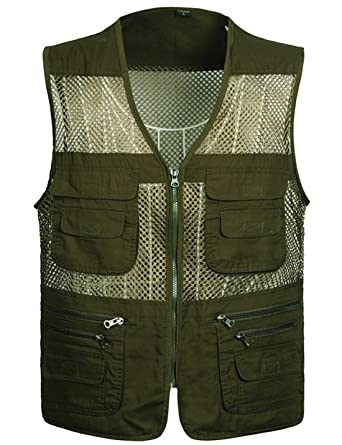 f5d546486caba Flygo Men s Summer Mesh Fishing Vest Photography Work Multi-Pockets  Outdoors Journalist s Vest Sleeveless Jacket