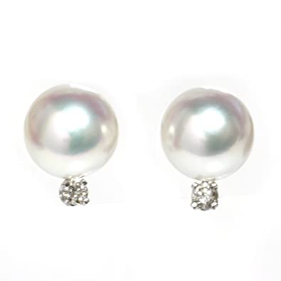 9907d91b2 Amazon.com: Diamond Cultured Akoya Pearl Stud Earrings 8 - 8.5 MM AAA  Flawless 14k Solid Gold (white-gold): Jewelry