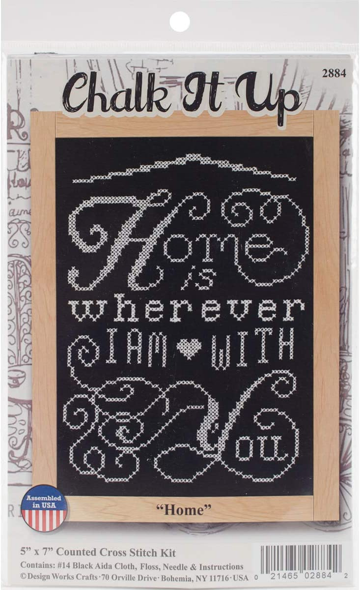 Home Chalkboard Mini 14 Count Tobin Design Works Cross Stitch Kit 5X7