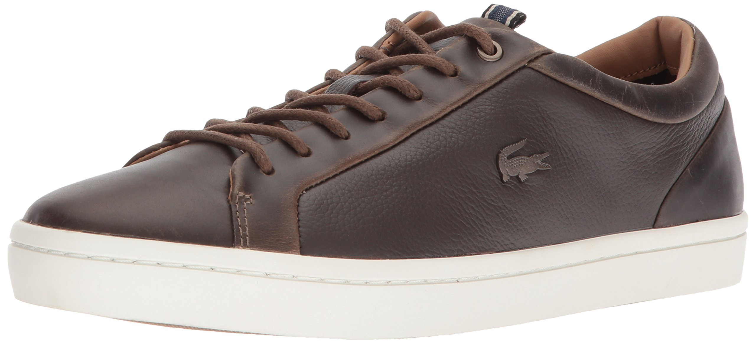 Lacoste Men's Straightset Sneakers,BRW/Off White Leather,7 M US