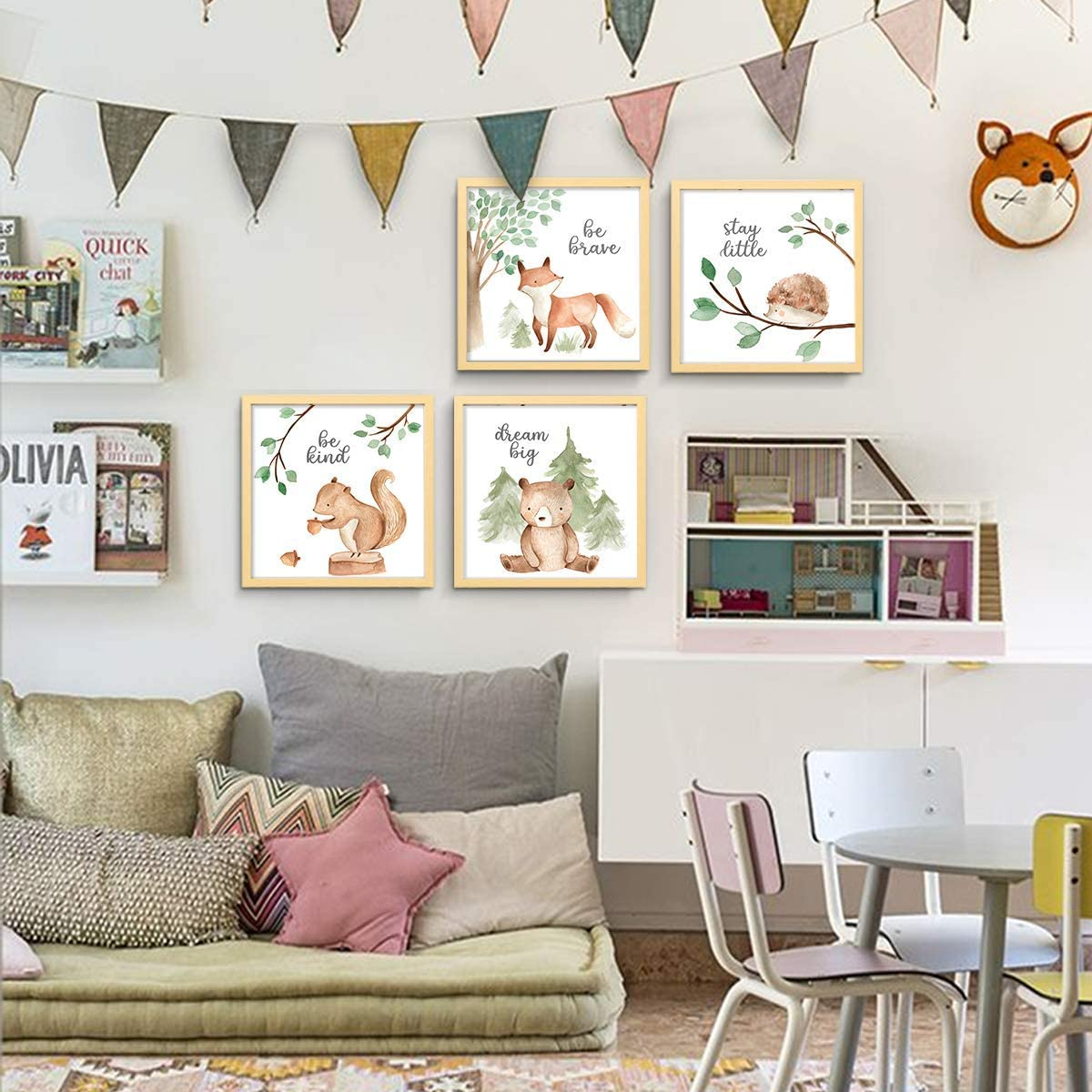 Artwork Paintings Set for Kids Room Playroom Bedroom 4 Pcs Woodland Nursery Wall Decor with Squirrel Forest Animals Kids Room Decor 12x12 Inch Frame set ArtbyHannah Picture Framed Nursery Wall Art decor Home Wall Hanging Decoration