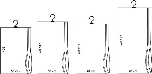 2 pcs appeso sacchi sottovuoto con appendiabiti 70 x 145 cm. Salvaspazio, facile da usare.