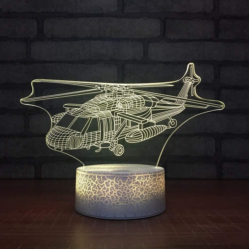 4 PACK, 3D optische Täuschung Nachtlicht Hubschrauber LED-Tisch Schreibtischlampe 7 Farbe automatisch wechselnden USB-Ladegerät Powerotfor Baby Schlafzimmer Dekoration Kinder Geschenk