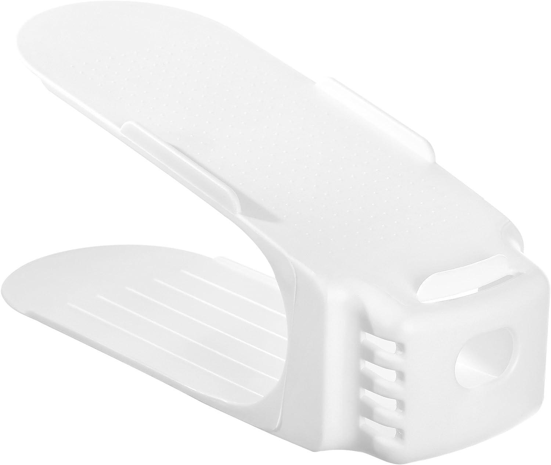 SONGMICS Supporti Portascarpe Salvaspazio Scarpiera di Plastica Bianco 25 x 10 x 12 cm 12 Pezzi LSP34WT