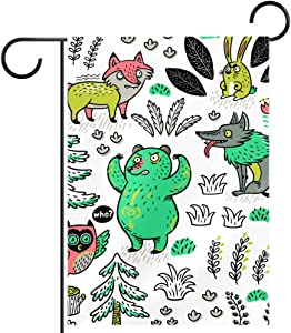 hihihihi Cartoon Fox Bear Wolf and Owl Garden Flag Decorative for Garden and Home Decorations,12X 18 Inch Double Sided Flag