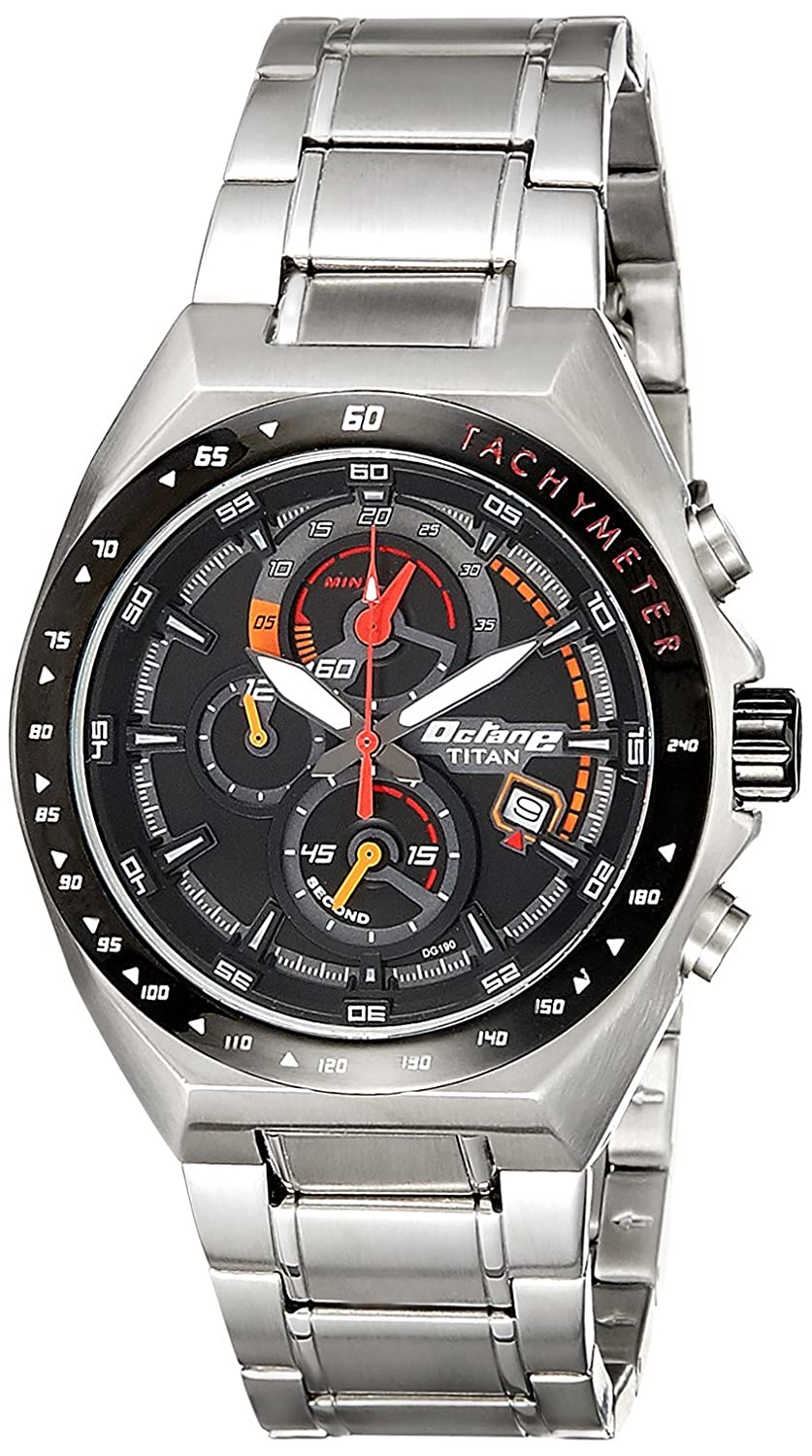 0c0a198b5c Buy Titan Octane Chronograph Black Dial Men's Watch -90048KM03 Online at  Low Prices in India - Amazon.in