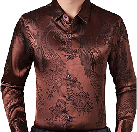 Domple Men Long Sleeve Dragon Print Slim Silk Casual Business Dress Shirt