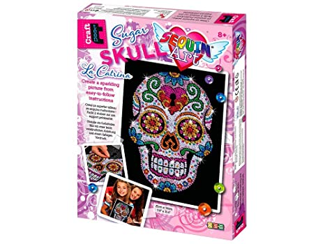 Amazon Com Sequin Art Sugar Skull Sparkling Arts And Crafts Picture