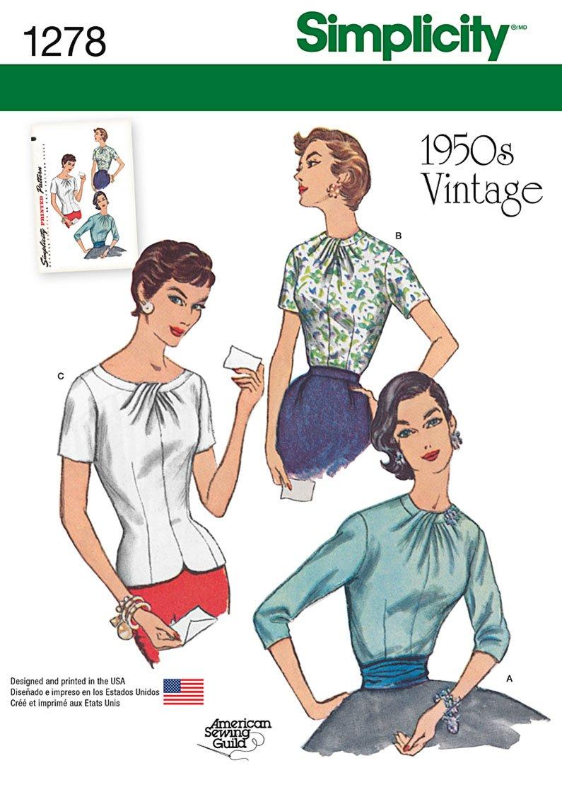 Simplicity Tamaño de 1278 R5 Tallas Vintage 1950 de Costura para ...