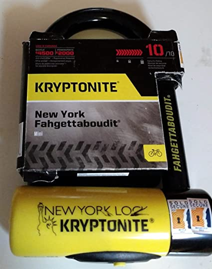 e1a6f056062c6 Image Unavailable. Image not available for. Color  Kryptonite New York  Fahgettaboudit Mini Heavy Duty Bicycle U Lock Bike Lock