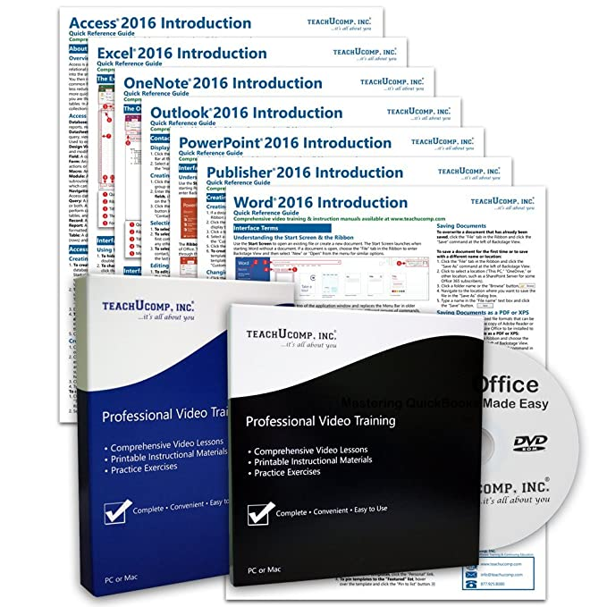 Learn Microsoft Office 2016 DELUXE CPE Training Tutorial Package- Video  Lessons, PDF Instruction Manuals, Printed and Laminated Quick Reference  Guide,
