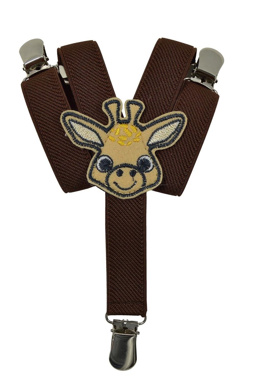 Baby/Childrens 0-2 Years Elasticated Clip on Braces/Suspenders with Animal Design KIDSBRACESF2cat-brown
