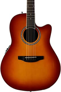 Ovation Applause 6 String Acoustic-Electric Guitar Right, Honey Burst Mid-Depth AB24II