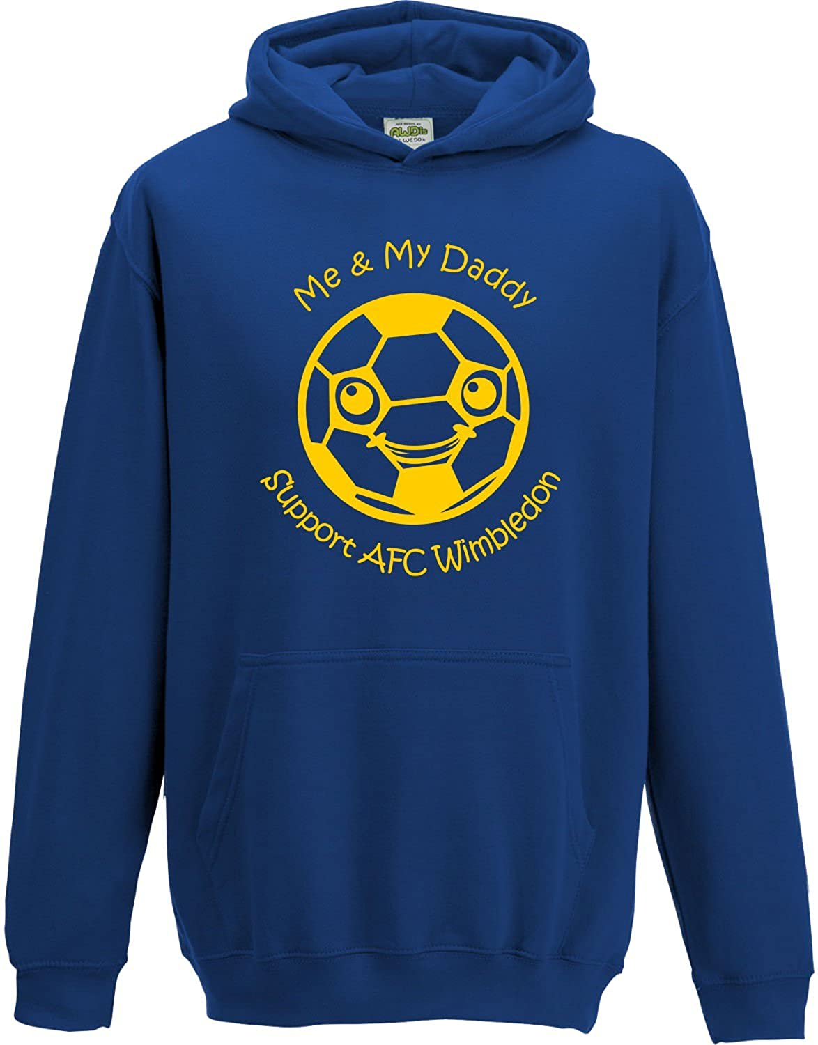 Hat-Trick Designs Afc Wimbledon Football Baby/Kids/Childrens Hoodie Sweatshirt-Royal Blue-Me & My-Unisex Gift