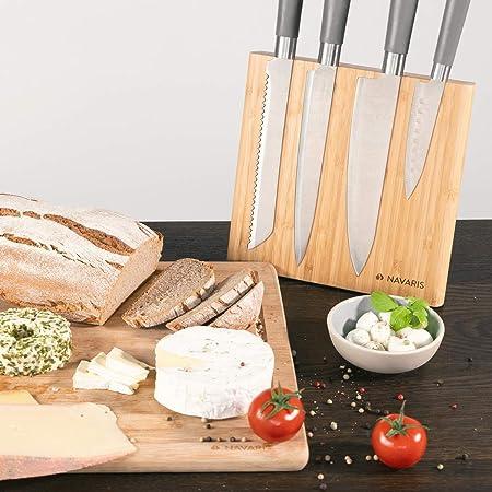 Navaris Soporte magnético para cuchillos - Bloque magnético de bambú para utensilios de cocina - Base magnética de madera para cuchillo de damasco