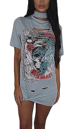 Sommerkleider Damen Kurz Elegante Kurzarm Rundhals T-Shirt Kleider  Minikleid Aufdruck Gemustert Löcher Young Fashion Blusekleid  Freizeitkleider  Amazon.de  ... 83855a05ba