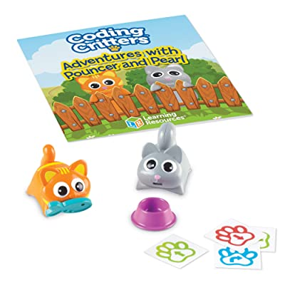 Learning Resources Coding Critters Pair-A-Pets Cats Pouncer & Pearl, Early STEM Coding Toy, Interactive Pet, Children's Easter Basket Toy, Ages 4+: Toys & Games