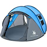 HUI LINGYANG 4 Person Easy Pop Up Tent,9.5'X6.6'X52'',Waterproof, Automatic Setup,2 Doors-Instant Family Tents for Camping, H