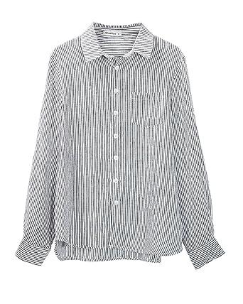 8caa58a13ce Amazhiyu Womens Linen Stripe Button Down Shirt Casual Basic Long Sleeves  Blouse Pockets (Black