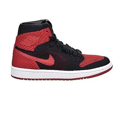 Nike Chaussures Hommes Air Jordan 1 Retro Haut Flyknit GS en Tissu Noir et  Rouge 919702