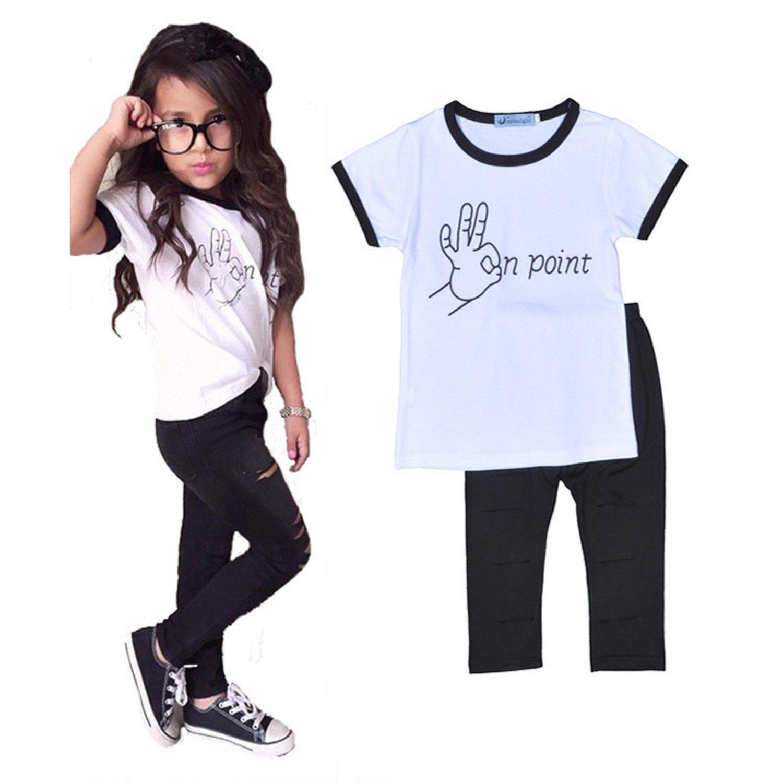 Jewby Little Girl Summer T-shirt+Pants Set (4T)