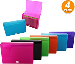 """3"""" X 5"""" Index Card Case Holds 100 Cards Includes Business Card/Index Holder and 5 Tab Dividers with Sticker Tabs Comes in Assorted Color – (Pack of 4) by (Emraw)"""