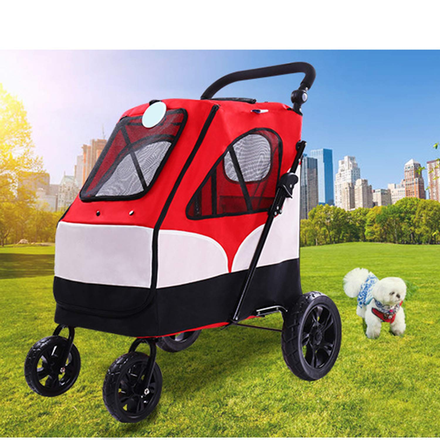 Red Large Pet Stroller Large Dog and Dog Trolley Foldable Big Space Bearing 55KG Outing