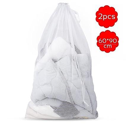 Samione Bolsas de Lavado, Bolsas de lavandería con Cordón Bolsas de Malla de Transpirable para Ropa de Bebé, Ropa Interior, Calcetines, Suéteres, ...