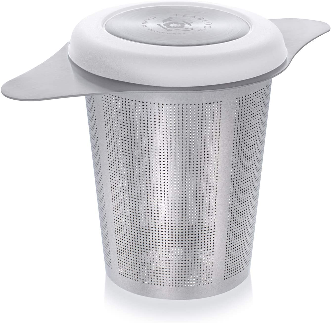 Teabloom Universal Tea Infuser with Coaster Lid – Fits Standard Teapots, Cups, Mugs – Food Grade 18/8 Stainless Steel – Large Capacity with Extra-Fine Mesh
