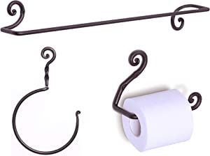 RTZEN Wrought Iron Bathroom Accessories Set, Decorative Hand Towel Ring, Body Towel Bar Hanger and Toilet Paper Holder