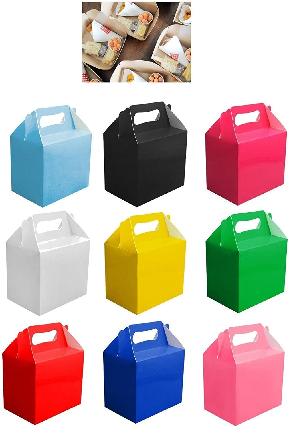 Shatchi 10Pk Assorted Childrens Lunch Takeaway Birthday Wedding Cake Meal Food Boxes Party Bags, 14x10x14cm, Mix Colours