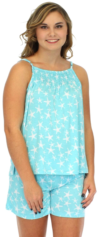 cdd94edc08896b Pajama Heaven Women s Bamboo Jersey Tank Top with Adjustable Straps and Short  Pajama PJ Set - Blue -  Amazon.co.uk  Clothing