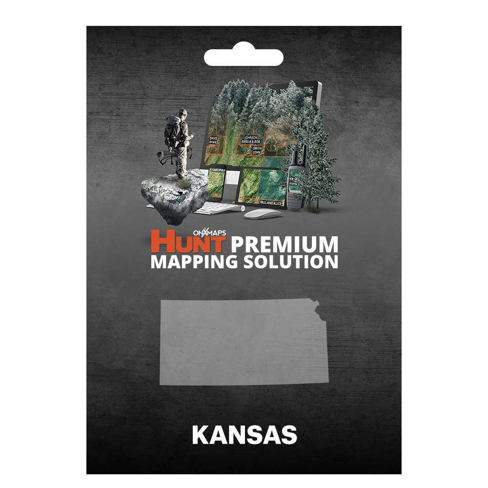 onXmaps HUNT Kansas: Digital Hunting Map For Garmin GPS + Premium Membership For Smartphone and Computer - Color Coded Land Ownership - 24k Topo - Hunting Specific Data