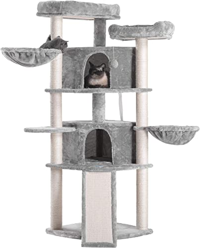 Hey-bro Extra Large Multi-Level Cat Tree Condo Furniture with Sisal-Covered Scratching Posts, 2 Bigger Plush Condos, 2 Perch Hammock, Scratching Posts Smoky Gray MPJ031G
