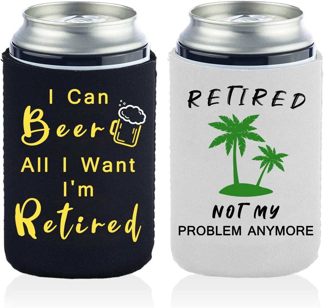 2 Funny Retirement Can Coolers Gifts for Men And Women-12 OZ Collapsible Neoprene Can Beer Bottle Beverage Cooler Cover Insulator Holder Sleeve for Cola Beer Soda - 2 Pack