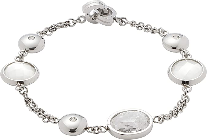 JEWELS BY LEONARDO DARLIN'S Damen Armband Manina, Edelstahl mit Bergkristallen und Schliff Glassteinen, CLIP & MIX System, Länge 190 mm, 016833