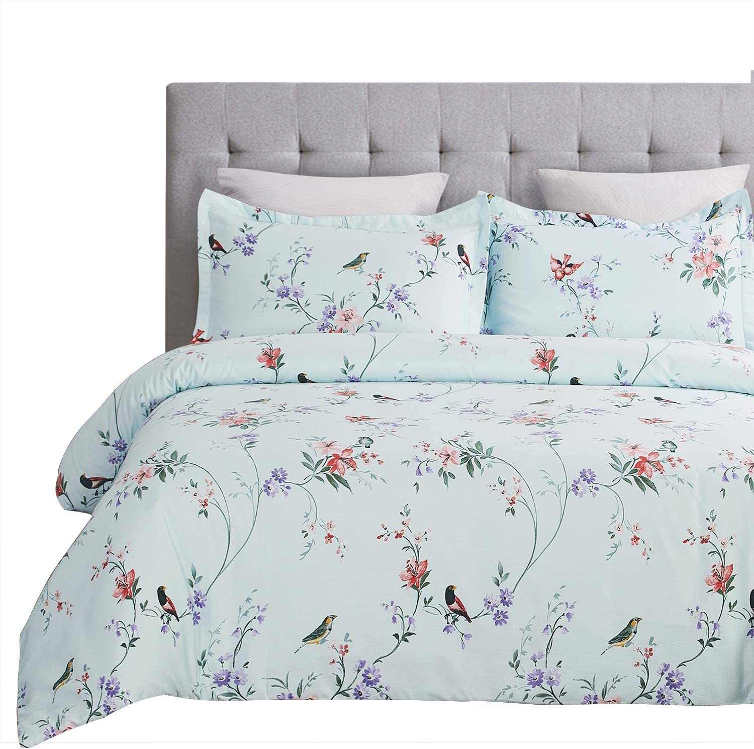 Twill Weave Fabric Structure Blue Flower Vaulia 250-Thread-Count 100/% Cotton Duvet Cover Set King