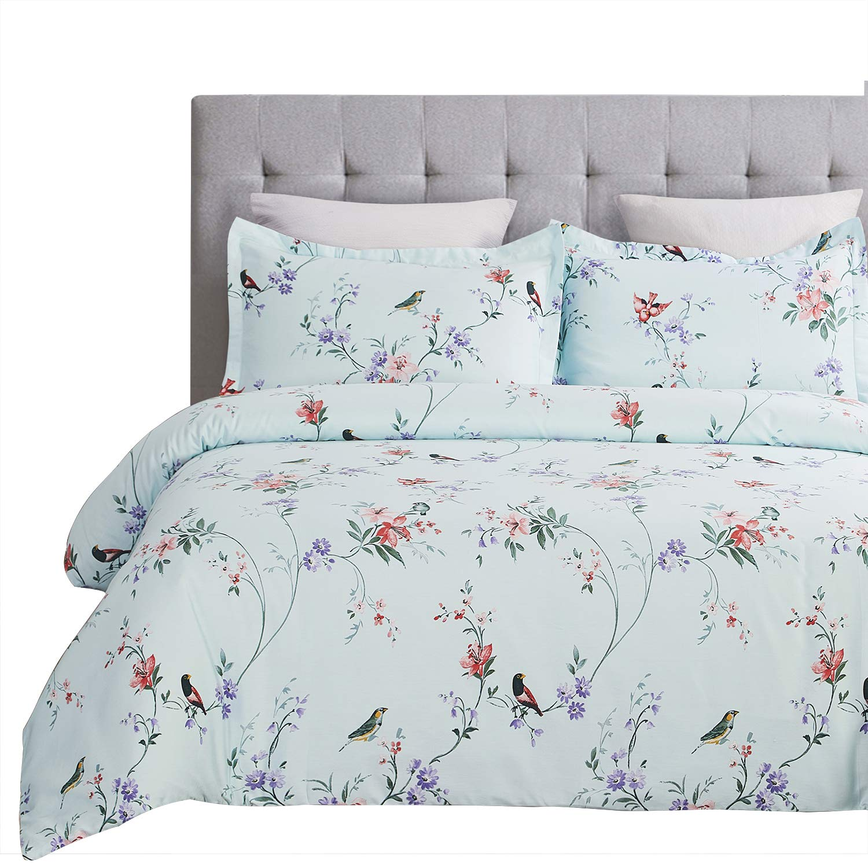 Vaulia 250-Thread-Count 100% Cotton Duvet Cover Set, Twill Weave Fabric Structure - Queen, Spa Blue Birds Pattern