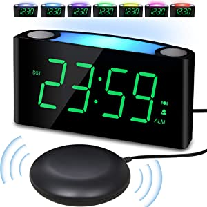 Alarm Clock with Bed Shaker, Large Numbers Digital Display with Dimmer, Night Light, USB Charger, Snooze, Loud Sound&Powerful Vibration Bedroom Clock for Heavy Sleeper Hearing Impaired Deaf Senior Kid