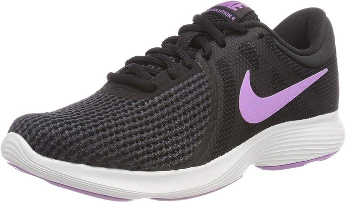 Nike Revolution 4 Sneakers Laufschuhe Damen Schwarz mit lila Streifen